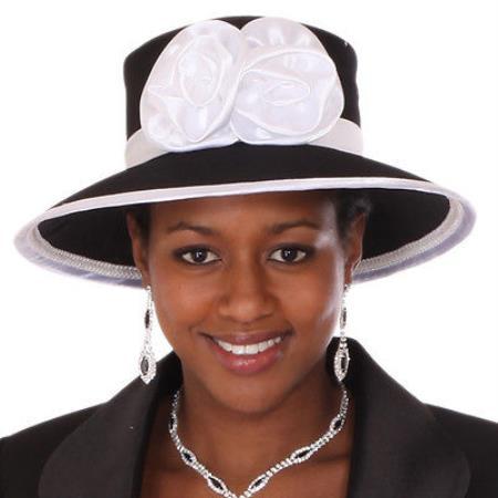 SKU#HA-16 New Lyndas Women Classic Black Widow Brim Church Bridal Shower Hat $65