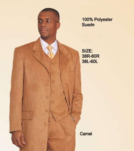 MensUSA.com Fashion Velvet Velour Fabric Distinctive Feel 3PC Vested Long Maxi Zoot Suit Camel~Bronz~Gold(Exchange only policy) at Sears.com