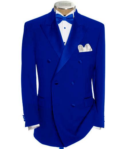 SKU#DB-22 Double Breasted Tuxedo Suit + Shirt & Bow Tie Package 6 On 2 Button Closer Style Jacket Royal Blue