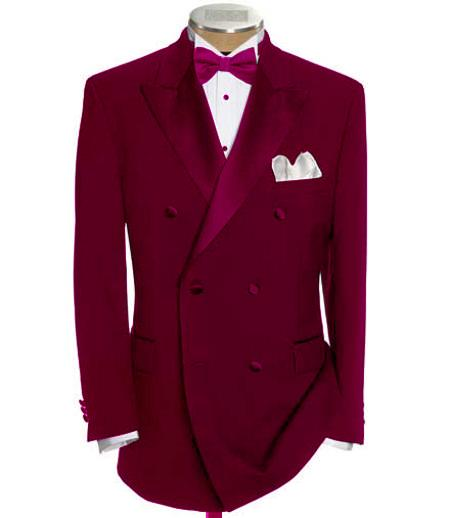 SKU#DB-23 Double Breasted Tuxedo Shirt & Bow Tie Package 6 on 2 Button Closer Style Jacket Burgundy $595