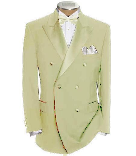 SKU#DB-24 Double Breasted Tuxedo Shirt & Bow Tie Package 6 on 2 Button Closer Style Jacket Ivory $595