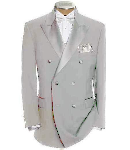 SKU#DB-25 Double Breasted Tuxedo Shirt & Bow Tie Package 6 on 2 Button Closer Style Jacket Off White $595