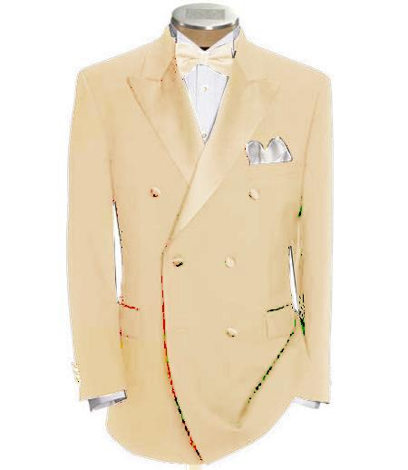SKU#DB-26 Double Breasted Tuxedo Shirt & Bow Tie Package 6 on 2 Button Closer Style Jacket Cream $595
