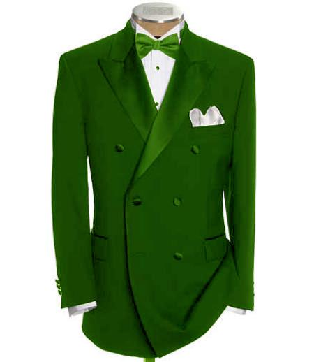 SKU#DB-28 Double Breasted Tuxedo Shirt & Bow Tie Package 6 on 2 Button Closer Style Jacket Olive $595