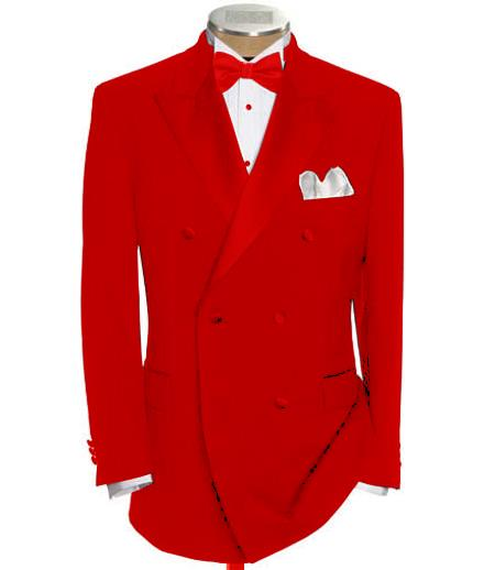 SKU#DB-29 Double Breasted Tuxedo Shirt & Bow Tie Package 6 on 2 Button Closer Style Jacket Hot Red