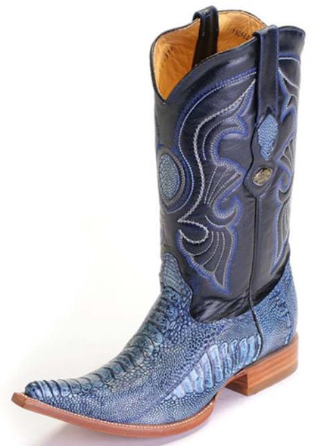 MensUSA.com Ostrich Leg Rustic Blue Rider Los Altos Mens Cowboy Boots Western Style Classics(Exchange only policy) at Sears.com