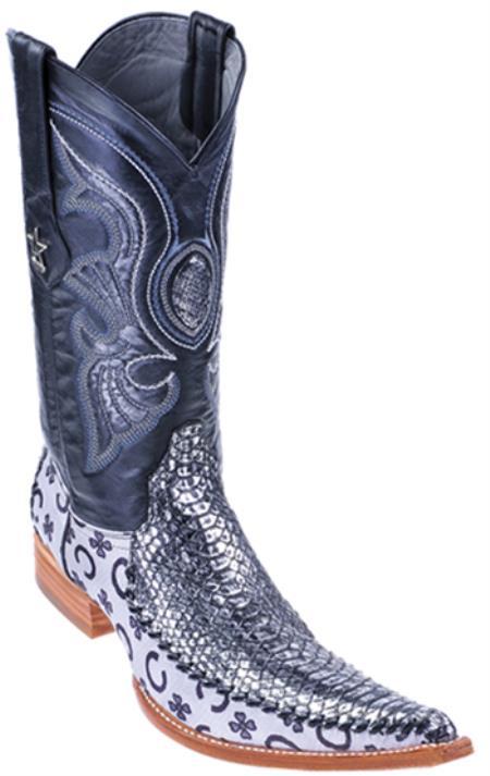 MensUSA.com Python Skin Silver Los Altos Men's Cowboy Boots Western Classics Riding(Exchange only policy) at Sears.com