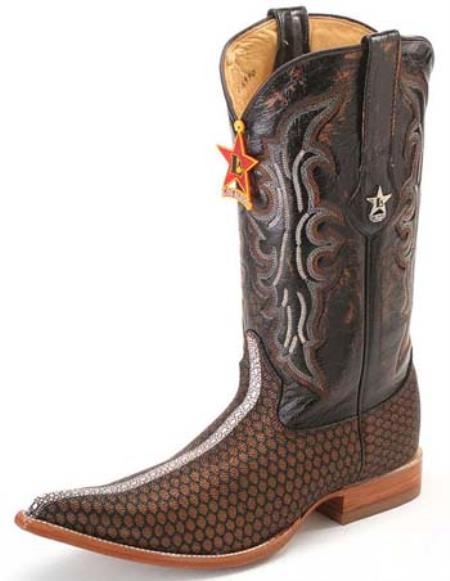 SKU#KA8966 Stingray Print Los Altos Honey Comb Brown Mens WESTERN Cowboy Boots 3X Toe $205