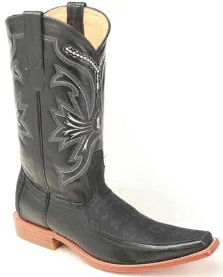 MensUSA.com Deer Leather Black Los Altos Mens Cowboy Boots Western Fashion Square Toe(Exchange only policy) at Sears.com