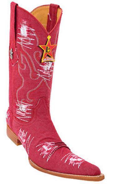 MensUSA.com Men's Los Altos COWBOY Fashion Western Boots Handmade Denim Fabric Red 6x Toe(Exchange only policy) at Sears.com