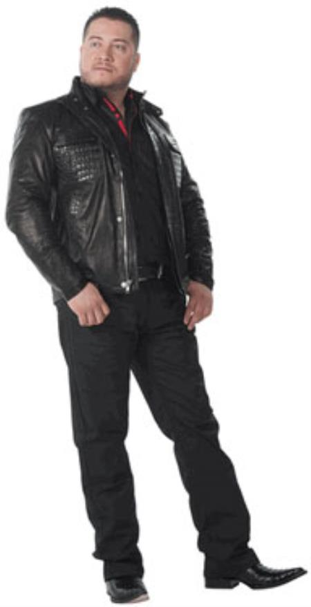 SKU#TQ-4278 Wild West caiman ~ alligator Belly Bomber Style Jackets Black $1217