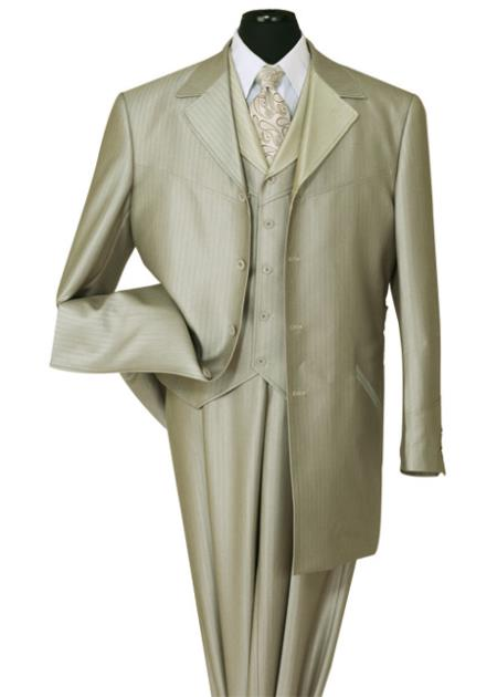 SKU#VT-11 Mens 3 Piece 4 Button 36 Inch Length Shark Skin Church Suit tan ~ beige with Stripe ~ Pinstripe three piece low priced fashion outfits