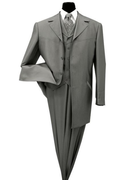 SKU#DG-12 Mens three piece low priced fashion outfits 4 Button 36 Inch Length Shark Skin Church Suit Charcoal With Stripe ~ Pinstripe
