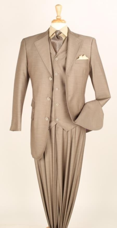 MensUSA.com Men's 3 Piece Fashion Suit - Double Pockets Champagne(Exchange only policy) at Sears.com