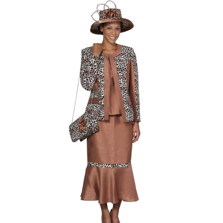 SKU#WO-101 Women 3 Piece Dress Set Camel ~ Khaki/Print