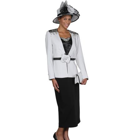 SKU#WO-102 Women 3 Piece Dress Set Silver/Black