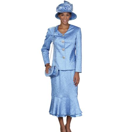 SKU#WO-103 Women 4 Button Dress Set Light Blue ~ Sky Blue $139