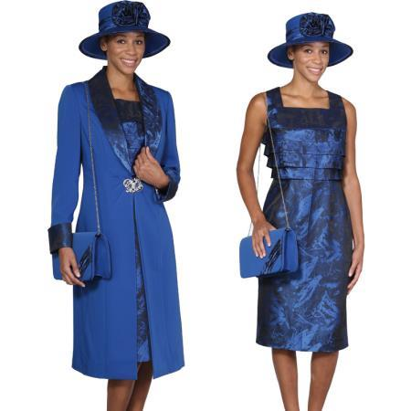 SKU#R-39E Women Dress Set Royal Blue