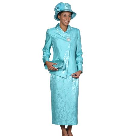 SKU#WO-107 Women Dress Set turquoise ~ Light Blue Colored $139