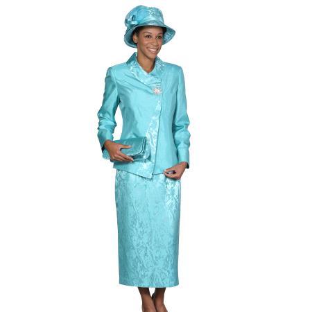 SKU#WO-107 Women Dress Set turquoise ~ Light Blue Stage Party $115