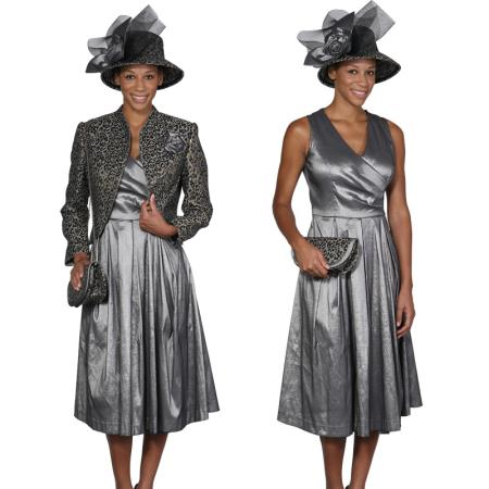 SKU#WO-108 Women Dress Set Grey/Gold $115