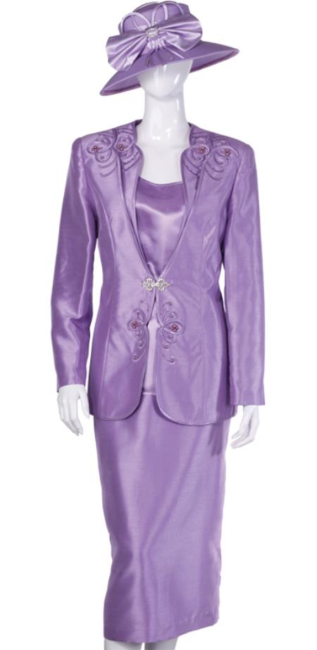 SKU#WO-110 Women Dress Set Lavender