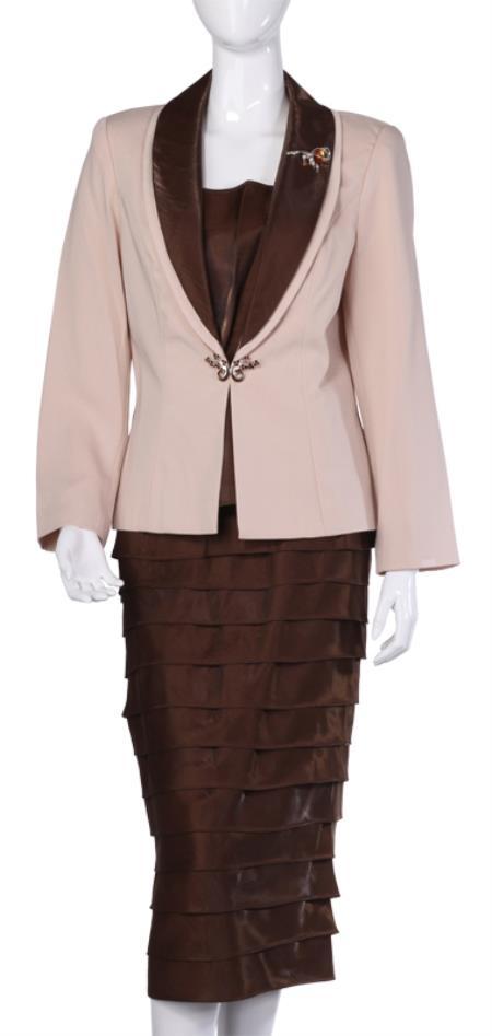 SKU#WO-111 Women Dress Set Brown $120