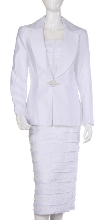 SKU#WO-112 Women Dress Set White