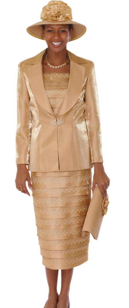 SKU#WO-113 Women 3 Piece Dress Set Gold