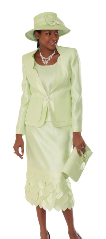 SKU#WO-104 Women 3 Piece Dress Set lime mint