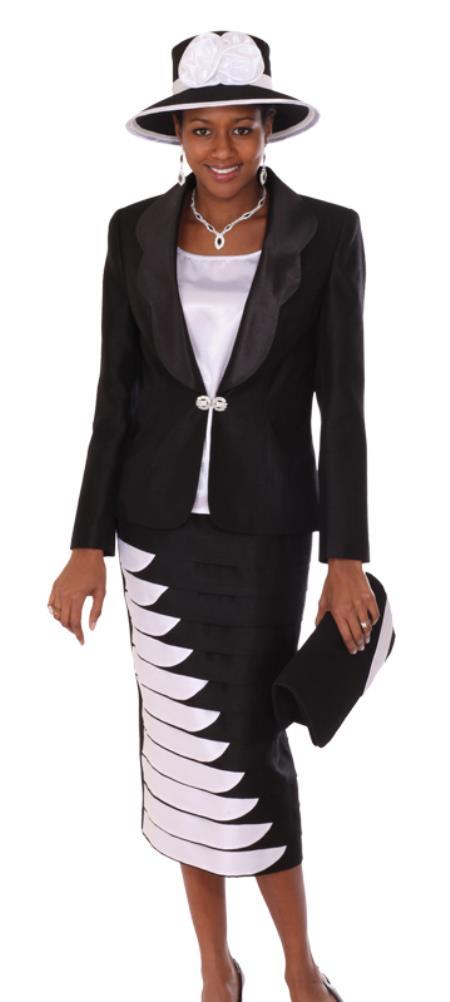 SKU#WO-116 Women 3 Piece Dress Set Black/White