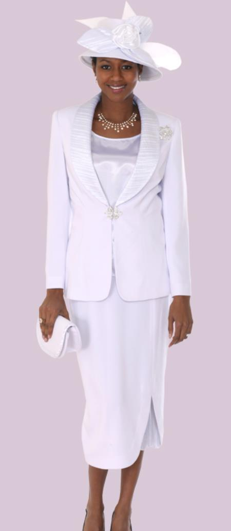 SKU#WO-118 Women 3 Piece Dress Set White $139