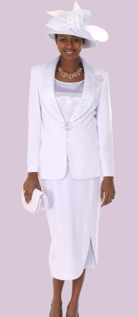 SKU#WO-118 Women 3 Piece Dress Set White