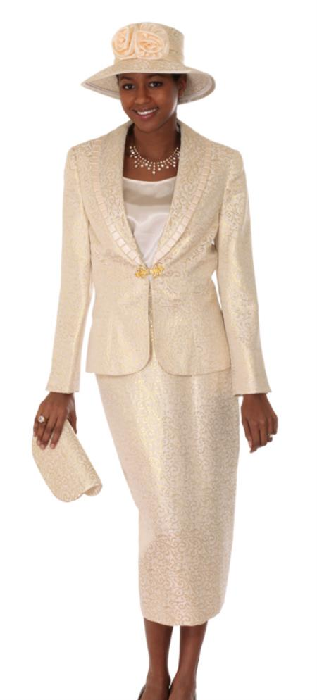 SKU#WO-119 Women 3 Piece Dress Set Gold $139