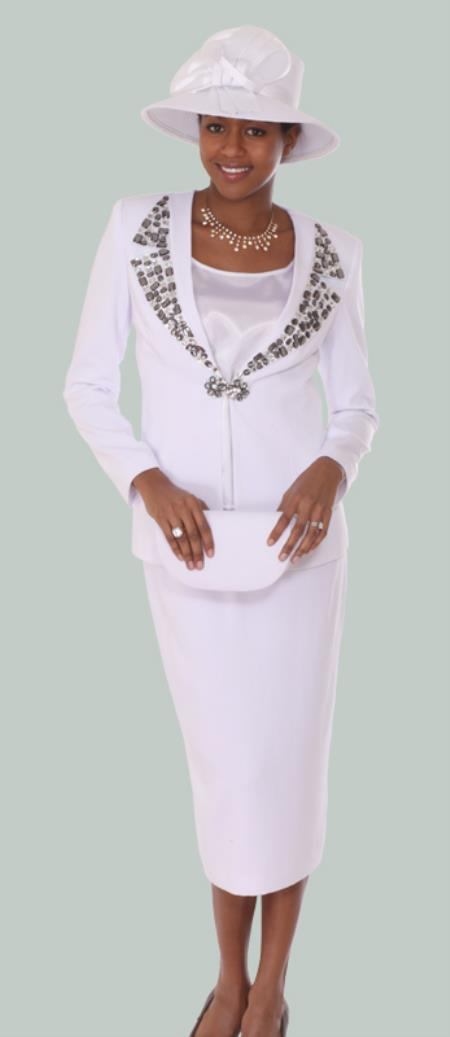 SKU#WO-120 Women 3 Piece Dress Set White $139