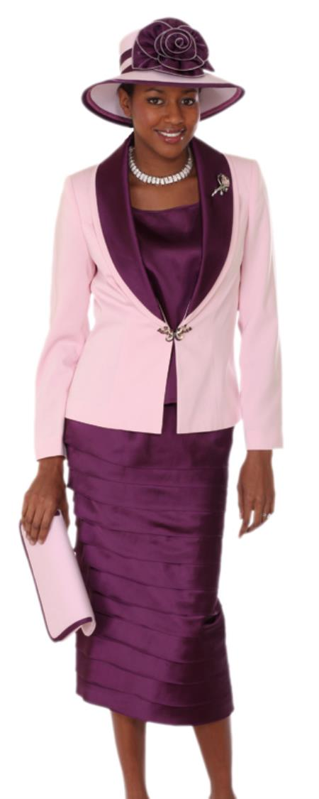 SKU#WO-128 Women 3 Piece Dress Set Pink/Phlox