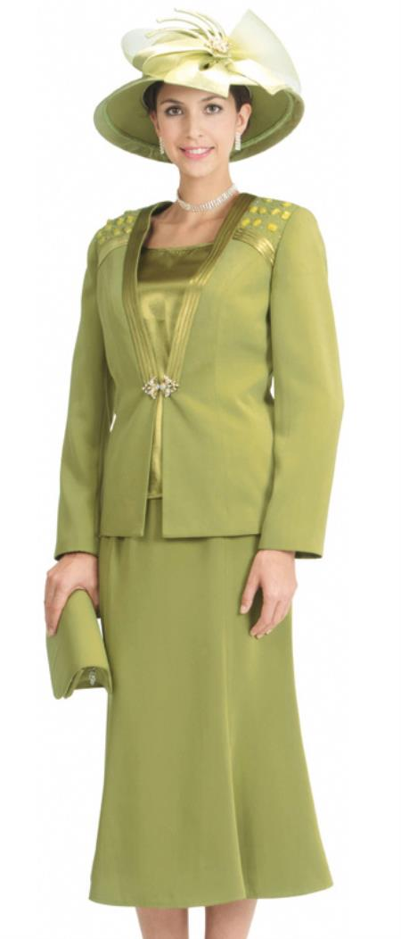SKU#WO-132 Women 3 Piece Dress Set Olive $139