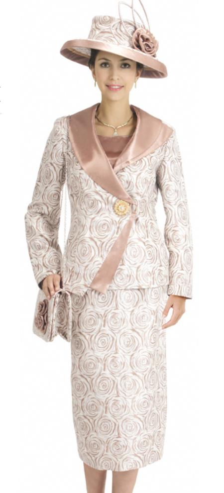 SKU#WO-136 Women 3 Piece Dress Set Brown/Gold