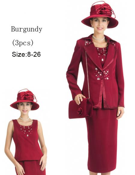 SKU#WO-142 Women 3 Piece Dress Set Burgundy ~ Maroon ~ Wine Color