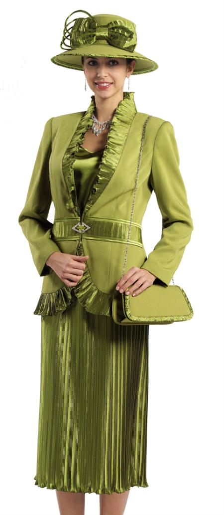 SKU#WO-143 Women 3 Piece Dress Set Olive, Black $139