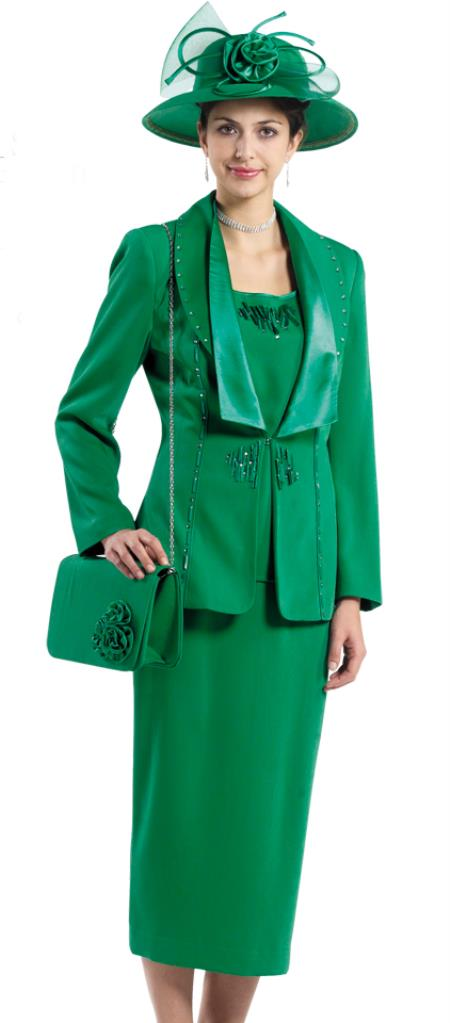 SKU#WO-153 Women 3 Piece Dress Set Emerald Green