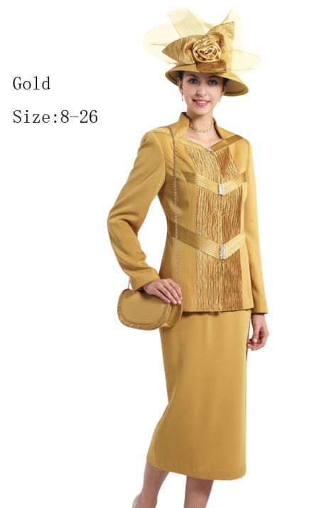 SKU#WO-160 Women Dress Set Gold $139