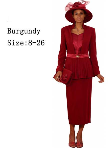 SKU#WO-169 Women Dress Set Burgundy ~ Maroon ~ Wine Color $139