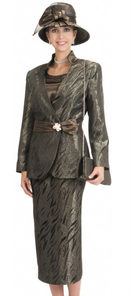 SKU#WO-172 Women Dress Set Olive/Black $139
