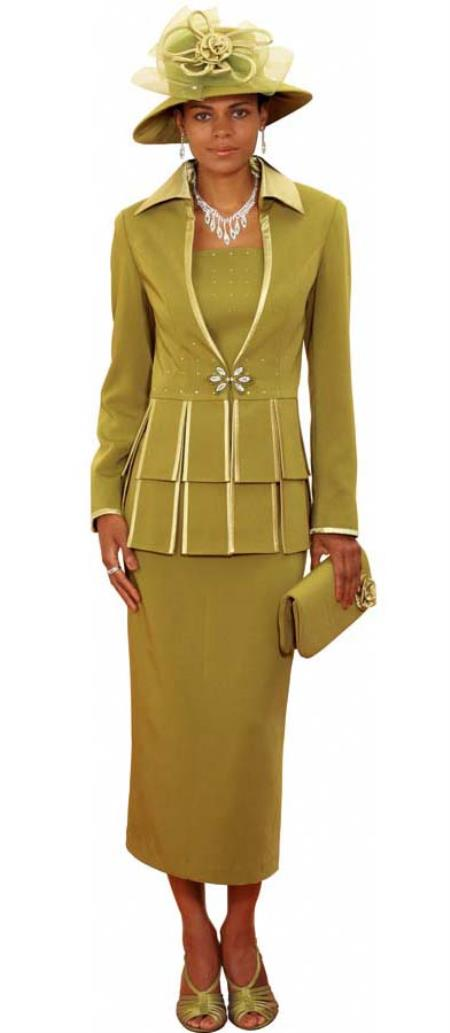 SKU#WO-173 Women Dress Set Olive $139
