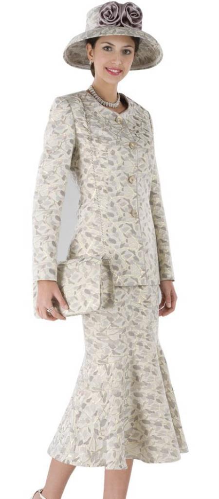 SKU#WO-179 Women Dress Set Grey/Gold