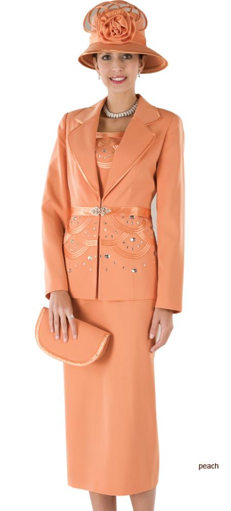 SKU#WO-191 Women Dress Set Peach $139