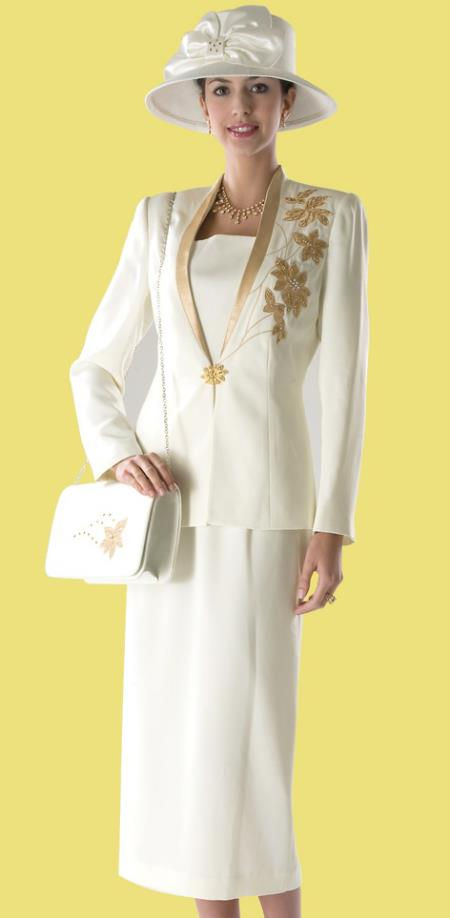 SKU#WO-192 Women Dress Set Ivory/Gold