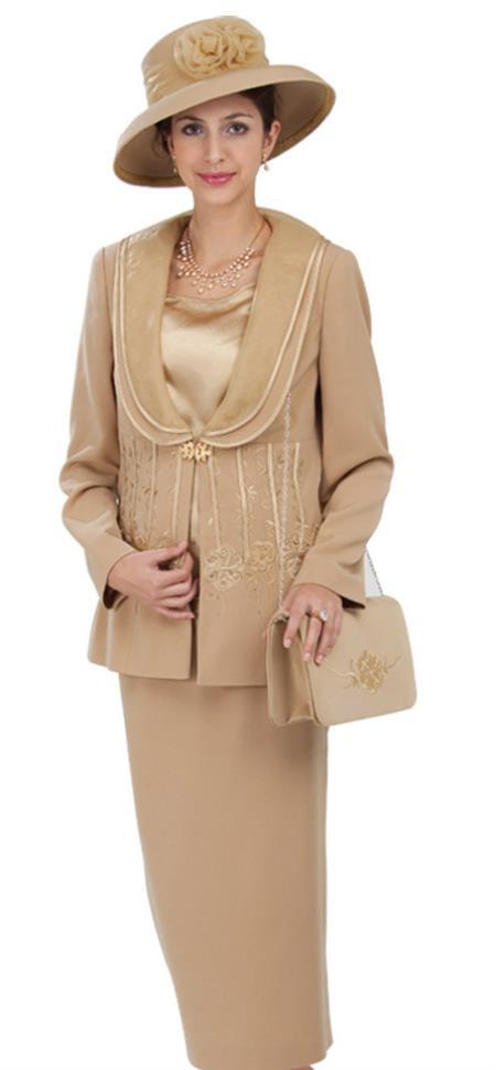 SKU#WO-206 Women 3 Piece Dress Set Gold