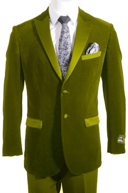 SKU#TUX-03 2 Button Peak Lapel Velvet ~ Velour Tuxedo / Blazer with Satin Lapel Side Vent Olive Green $149